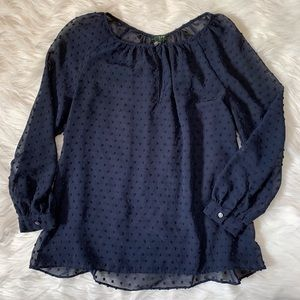J. Crew navy dotted 3/4 sleeve blouse